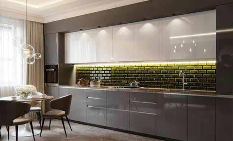 کابینت آشپزخانه های گلاس سفید طوسی