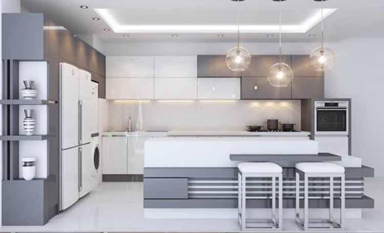 کابینت آشپزخانه های گلاس سفید نقره ای