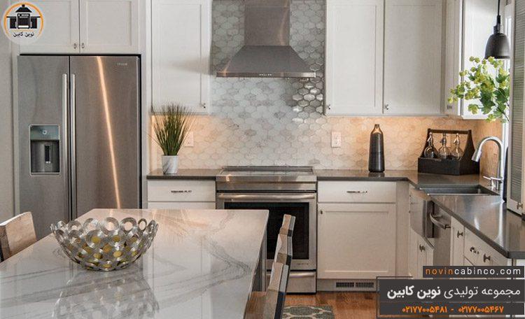 عکس کابینت آشپزخانه نقره ای سفید