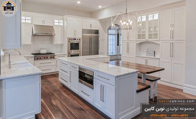 عکس کابینت آشپزخانه کلاسیک روشن