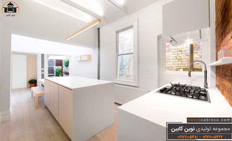 عکس کابینت آشپزخانه روشن هایگلاس