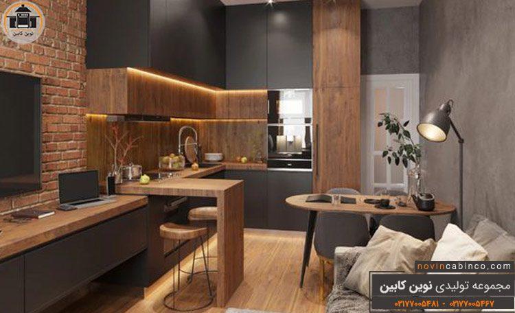 عکس کابینت آشپزخانه هایگلس مات مشکی