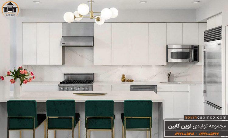 عکس کابینت آشپزخانه سفیدنقره ای