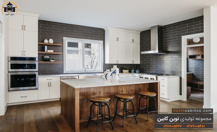 دکوراسیون آشپزخانه نئوکلاسیک سفید