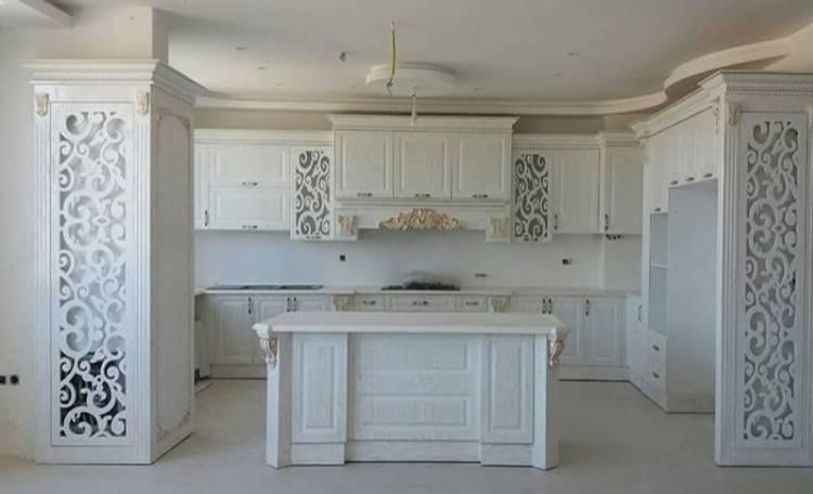 کابینت آشپزخانه ممبران سفید طلایی