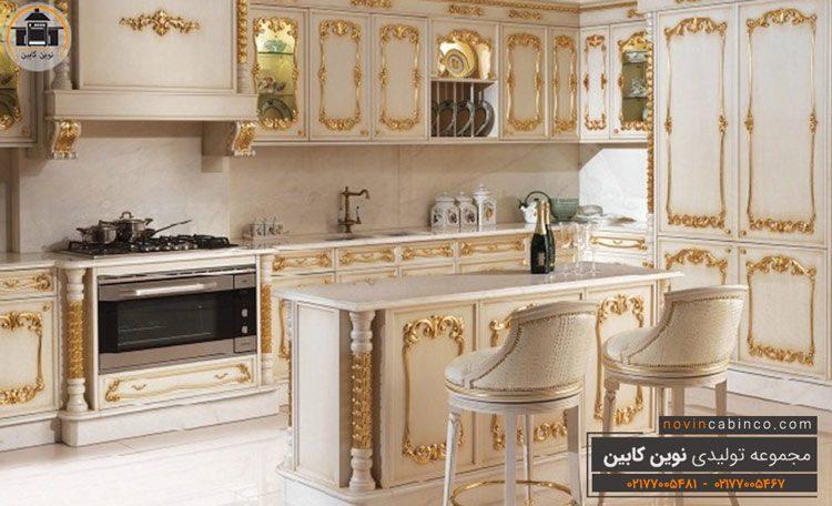 جدیدترین مدل کابینت آشپزخانه سفید طلایی کلاسیک