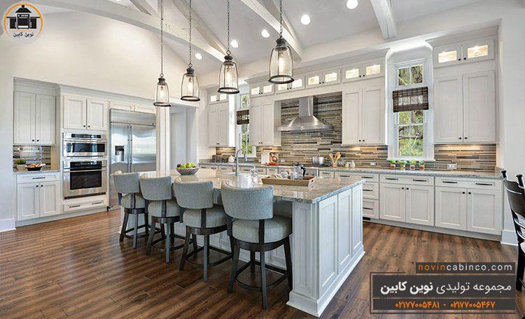 جدیدترین مدل کابینت آشپزخانه سفید چوبی