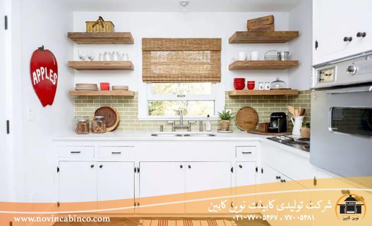 چوب و حصیر در کابینت آشپزخانه سنتی